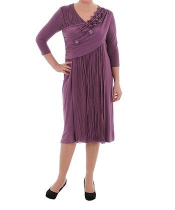 Plum Petal Cross-Front Shift Dress - Plus