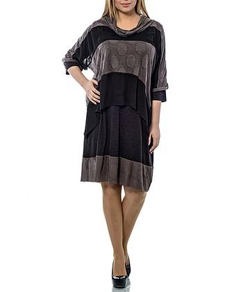 Brown & Black Layered Cowl Neck Shift Dress - Plus