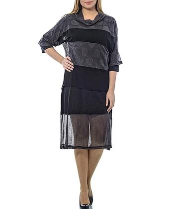 Black & Gray Layered Cowl Neck Shift Dress - Plus