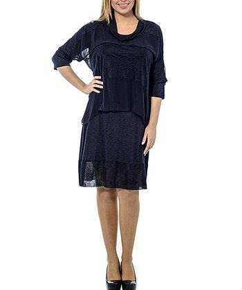 Navy Layered Cowl Neck Shift Dress - Plus