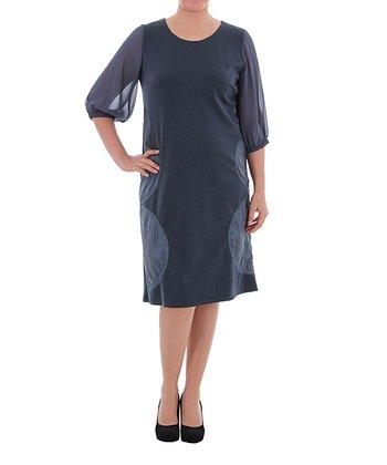 Blue & Green Scoop Neck Shift Dress - Plus