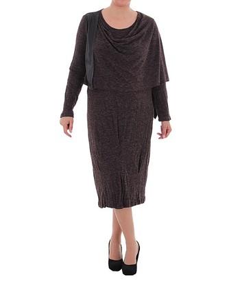 Burgundy Asymmetrical Drape Neck Dress - Plus
