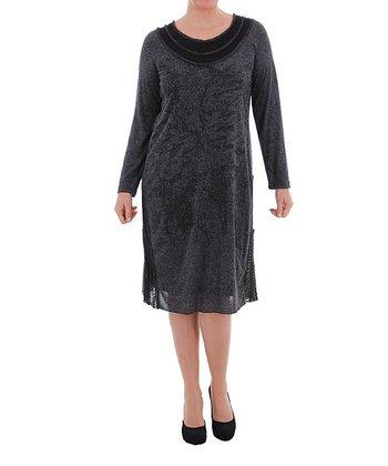 Black & Gray Shift Dress - Plus