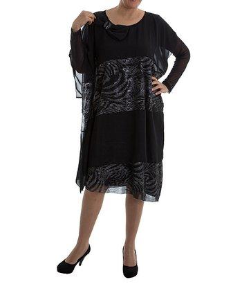 Black Bow Shift Dress - Plus