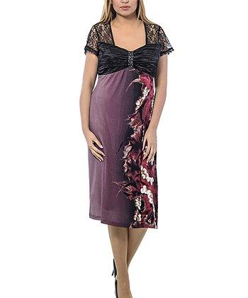 Burgundy & Black Lace Empire-Waist Dress - Plus