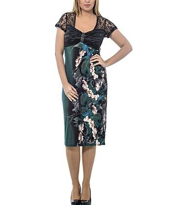 Blue & Black Lace Empire-Waist Dress - Plus
