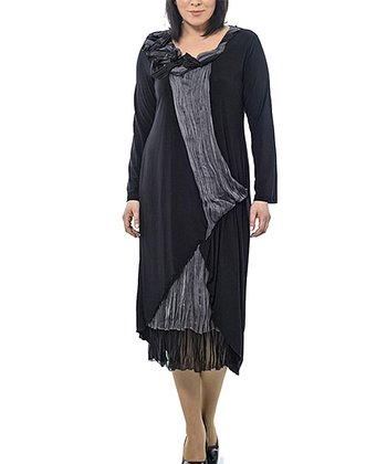 Black Sheer-Hem Layered Shift Dress - Plus