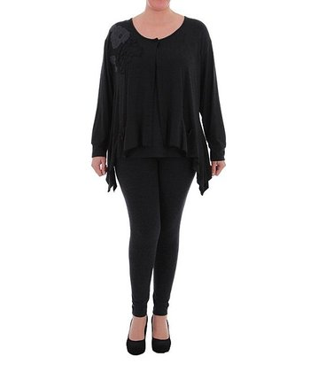 Black Sidetail Cardigan - Plus