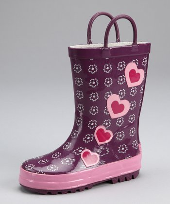 Purple Floral Heart Rain Boot