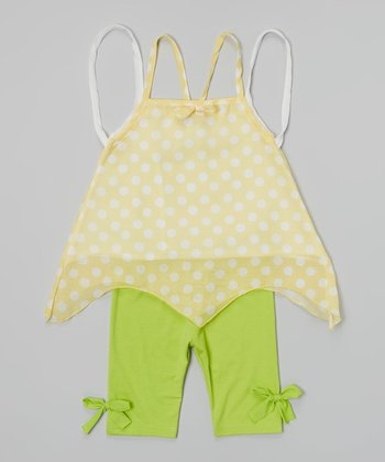 Yellow Polka Dot Sidetail Top & Lime Leggings - Toddler