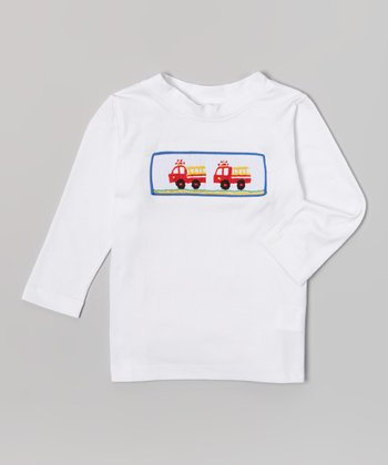 White Fire Truck Smocked Tee - Infant & Toddler