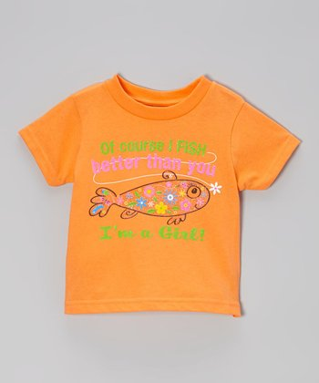 Cantaloupe 'Of Course I Fish Better Than You' Tee - Toddler