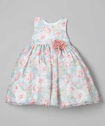 Blue & Pink Flower Dress - Girls