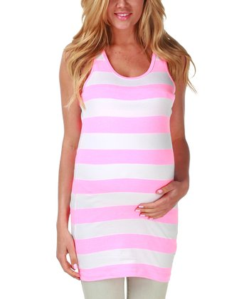 PinkBlush Maternity Neon Pink & White Stripe Maternity Racerback Tank