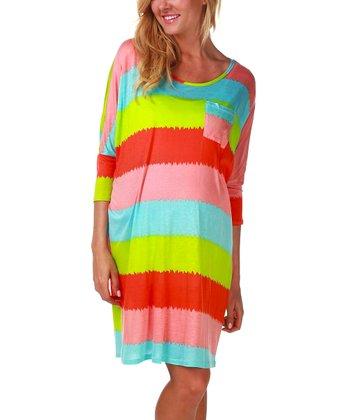PinkBlush Maternity Neon Blue & Pink Stripe Maternity Nightgown