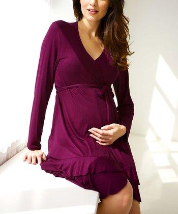 Belabumbum Eggplant Colette Ruffle Maternity & Nursing Robe