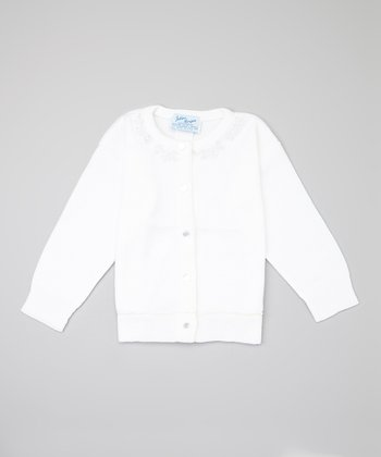 White Leaf & Pearl Cardigan - Toddler & Girls