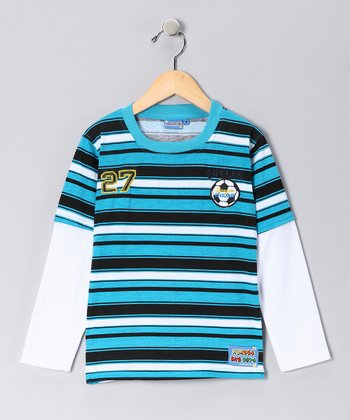 Blue Stripe 'Soccer' Layered Tee - Toddler & Boys