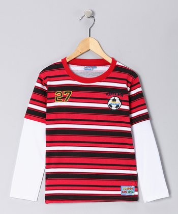 Red Stripe 'Soccer' Layered Tee - Toddler & Boys