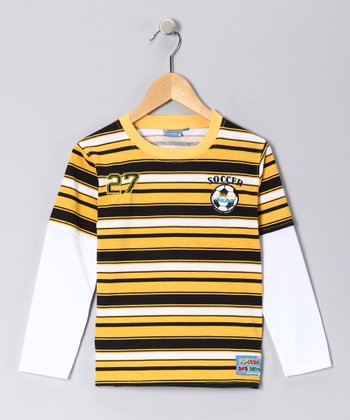 Yellow Stripe 'Soccer' Layered Tee - Toddler & Boys