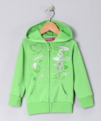 Green 'Hope' Zip-Up Hoodie - Toddler & Girls