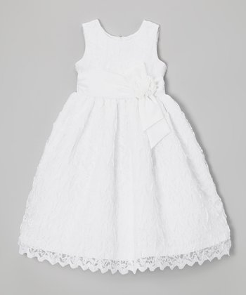 White Lace Satin Sash Dress - Toddler & Girls