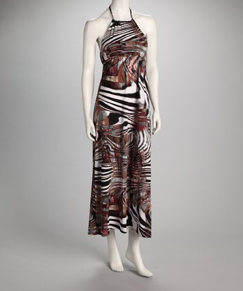 Brown Zebra Halter Maxi Dress