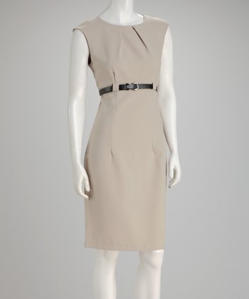 Khaki Belted Cap-Sleeve Dress