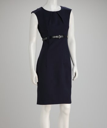 Navy Cap-Sleeve Dress