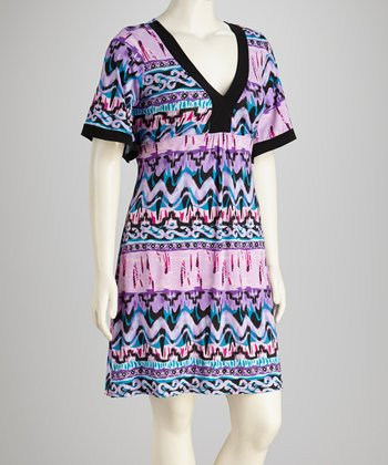 Purple Abstract V-Neck Dress - Plus