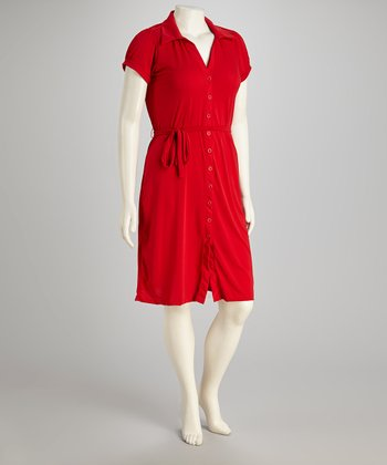 Red Shirt Dress - Plus
