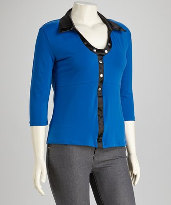 Blue & Black Top - Plus