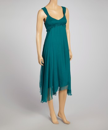 Teal Hi-Low Empire-Waist Dress