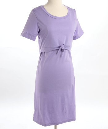 Lavender Organic Tie Nursing Nightgown