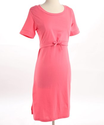 Pink Organic Tie Nursing Nightgown