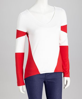 White & Red Color-Block Long-Sleeve Top - Women