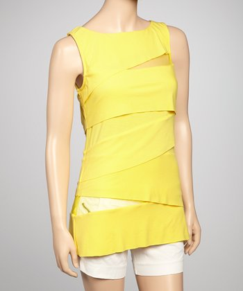 Yellow Mesh Cutout Sleeveless Top