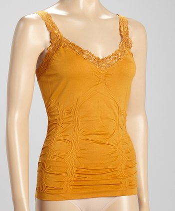 Mustard Lace-Trim Seamless Camisole - Women
