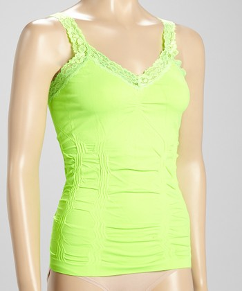 Neon Lime Lace-Trim Seamless Camisole - Women