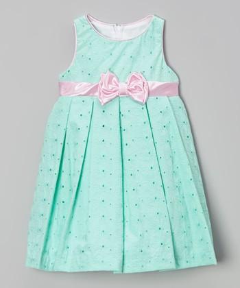 Green Eyelet Pleated Babydoll Dress - Infant & Toddler