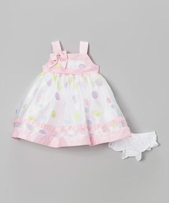 White & Pink Floral Babydoll Dress - Infant
