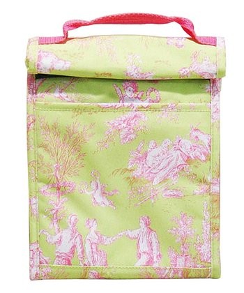 Lime French Toile Roll-Down Lunch Tote