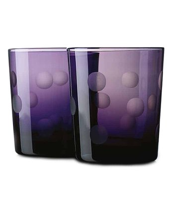 Purple Dot Double Old Fashioned Glass - Set of Four