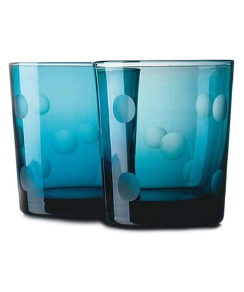 Home Essentials Blue Dot DOF Glass - Set of Four