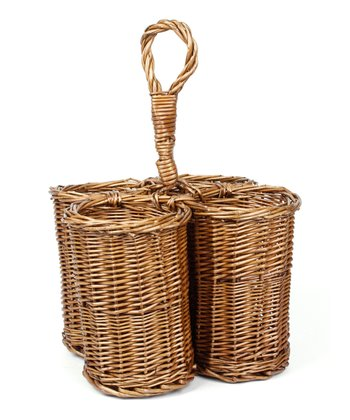 Tan Rattan Wine Bottle Holder