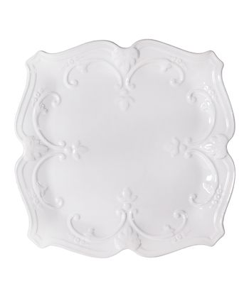 White Fancy Scroll 10.5'' Square Dinner Plate