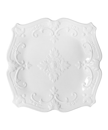 White Fancy Scroll 8'' Square Salad Plate