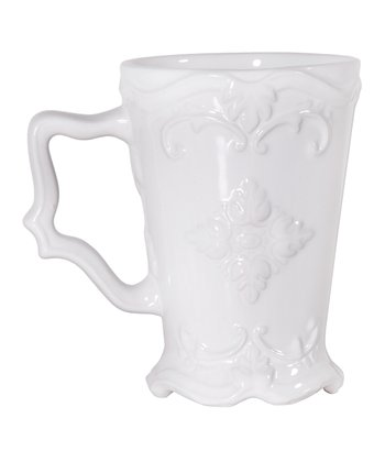 White Fancy Scroll Round Mug