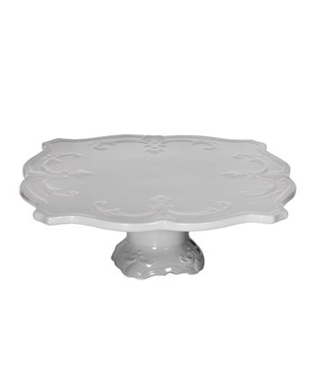 Gray 12'' Footed Cake Plate
