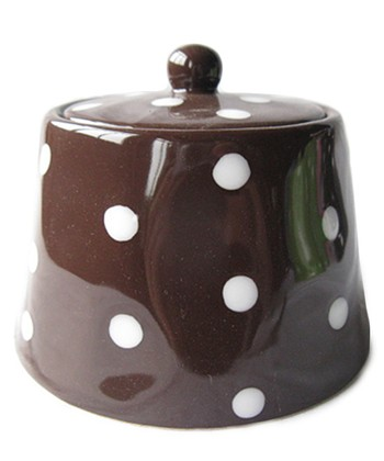 Home Essentials Brown Polka Dot Sugar Bowl